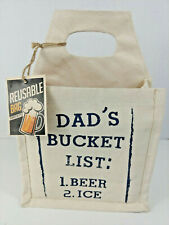 """New listing New Reusable Cotton & Vinyl Lined 6 Pack Carrier bag """"Dads Bucket List Beer Ice"""""""