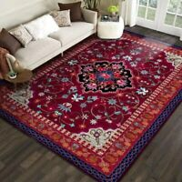 Area Rugs Luxury Red Flower Printed Large Carpets for Living Room Bedroom Decor
