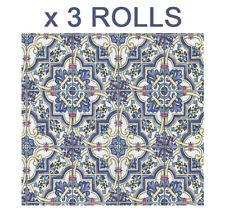 Blue Yellow Tile Wallpaper Mosaic Washable Vinyl Retro Textured Multi P+S x 3