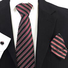 Black Red White Stripes 100% Pure Silk Neck Tie Cufflink and Handkerchief Set
