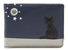 Cat Card Holder Wallet by MALA Leather Blue RFID Ladies Credit Photo ID Mini