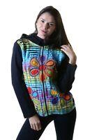 Damen Batik Cutwork Hippie Sweatjacke mit Zipfelkapuze von Kunst und Magie