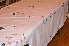 Large Vintage main Appliqued Brodé Nappe & 6 serviettes rose 172X131cm