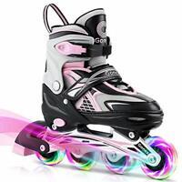 Gonex Inline Skates,Adjustable Inline Roller Skates with Illuminating Light Up