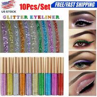 10Pcs Glitter Waterproof Shimmer Silver Gold Metallic Liquid Eyeliner Eye Shadow