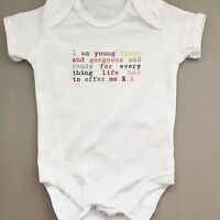 FANTASTIC slogan bodysuit/vest babygrow baby girl or boy young, fresh & gorgeous