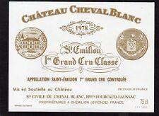 SAINT EMILION 1ER GCC VIEILLE ETIQUETTE CHATEAU CHEVAL BLANC 1978 RARE§23/03/18§