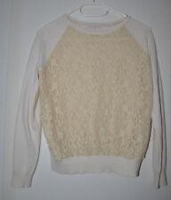 MEGA 🎀 ESPRIT Pullover XS creme beige SPITZE Pulli Feinstrick Logo gold Strick