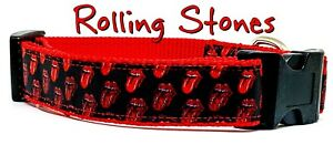 "Rolling Stones dog collar Handmade adjustable buckle 1"" or 5/8"" wide or leash"