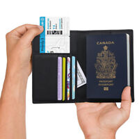 [Ultra-Safe] Genuine RFID Leather Slim Matte Felt Passport Holder Wallet Cover