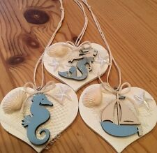 Nautical Hanging Decorations X 3 Shabby Chic Wood Heart Real Wood Embellishments