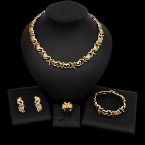 #76 HUGS & KISSES Xo Set Necklace bracelet Earrings Ring 18k Layered Real GF
