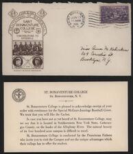 1939 Saint Bonaventure College Baseball Envelope/Stamp