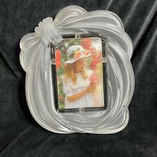 """Mikasa frosted glass bow sculpted tabletop desk picture photo frame 4""""x6"""""""