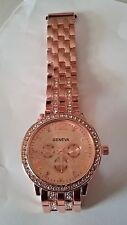 Geneva Luxury Women's Rose Gold  & Crystal Stainless Steel Quartz Analog Watch