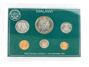 1971 Malawi First Decimal Coinage 6 Coin Set in Protective Plastic Case
