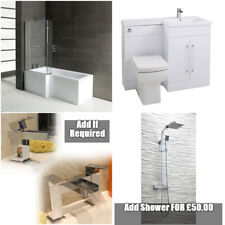 Complete Bathroom Suite L Shape Shower Bath Vanity Unit L shape With Options