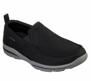 Skechers Black Shoes Men's Memory Foam Woven Slip On Comfort Loafer Casual 65382