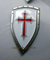 ZP383 Knights Templar Shield Crusader Cross Pin Badge Medieval FREE UK POST