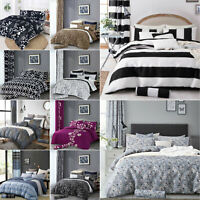 Duvet Quilt Cover With Pillowcase Single Double King Size Modern Bed Bedding Set