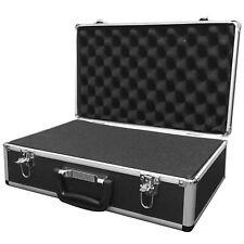 BLACK ALUMINIUM FLIGHT CASE Microphone Camera Silver 400 x 240 x 125 Foam Insert