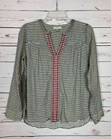 J.Crew Women's Size 4 Ivory Blue Striped Embroidered Peasant Top Shirt Blouse