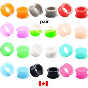 Pair Punk Silicone flexible Ear Gauges Soft Ear plugs Flesh Tunnels 3mm-40mm