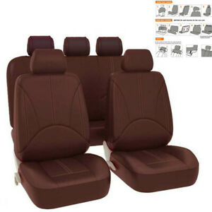 9xCoffee Color PU Leather Car Seat Cover Cushion Full Set Four Seasons Universal