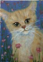 Yellow Tabby Ginger Cat Kitten  ACEO Original Miniature Painting CCA