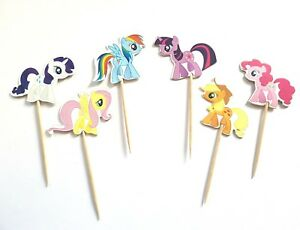12 MY LITTLE PONY CUPCAKE PICKS-CUP CAKE TOPPERS/PICK-HORSE-TWILIGHT SPARKLE