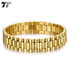 THICK TT Gold Stainless Steel Omega Chain Bracelet Wristband (BBR237J) NEW