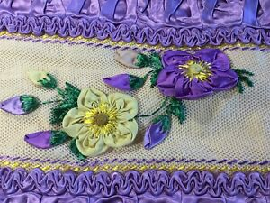 Antique Vintage French Satin Bolster Pillow Sham~Cover Ruched Floral Lavender