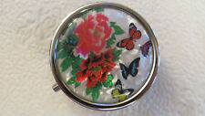 Round Divided 3 Compartment Pill Box Purse Case Container FLOWERS BUTTERFLIES