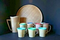 Vintage Raffiaware burlap Set - Pitcher, Mugs, Tumblers with Handles and Tray