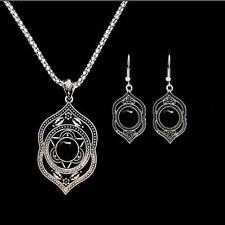 Tibetan Silver Women Pendant Necklace Dangle Earrings Turquoise Jewelry Sets Gif