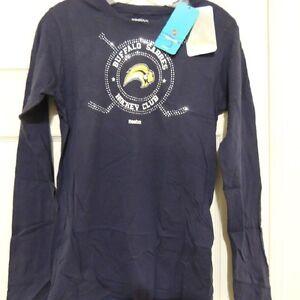 NHL Reebok Buffalo Sabres Long Sleeve Hockey Shirt New Womens MEDIUM MSRP $30