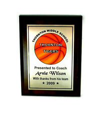 Basketball Plaque- Coach- MVP Customized Award-  Desktop Series- Free Lettering