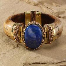 New Tara Mesa Oval Lapis Lazuli & Brown Bone Bangle Bracelet