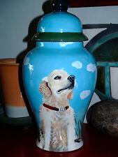 Custom Portrait MEMORIAL Pet URN DOG cremation ASH Hand Painted Golden Retriever