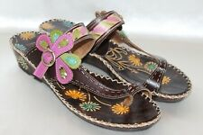 NEW! SPRING STEP Multi-color Leather SANTORINI Toe Loop Wedge Sandals EU41 10