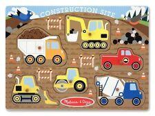 Melissa And Doug Construction Site Peg Puzzle 6pcs Pegged Puzzle #3388 New