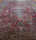 """ANTIQUE FLORAL SAROUKK HAND KNOTTED WOOL RED ORIENTAL RUG CLEANED  8'8"""" x 11'6"""""""