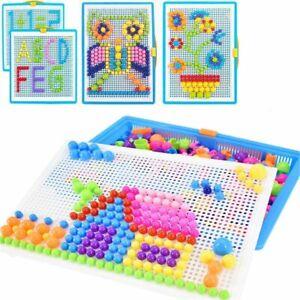 296 Stecker Puzzle Steckspiel Pilz Nägel Pädagogische Baustein Lernspiele Kinder