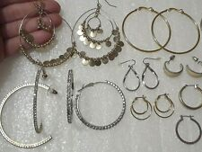 Large hoop earrings with rhinestones, enamel, and other pierced earring sets