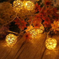 Boule de rotin blanc chaud LED corde fée guirlande lumineuse décoration de