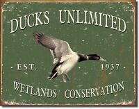 Ducks Unlimited Since 1937 Vintage Retro Hunt Cabin Wall Decor Metal Tin Sign