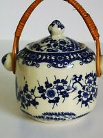 Small Blue And White Transfer Ware Biscuit Barrel