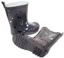 Kids Girls Boys Dark Grey Paint Splash Wellington Wellies Boots Size 11/29