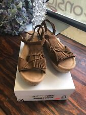 Minnetonka Wedge Brown Leather Suede  Fringe Sandal Size 8