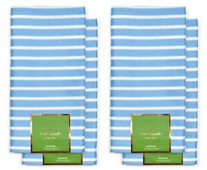 "*NEW* 4 x Kate Spade ""Harbour Drive"" Napkins - Cornflower Blue Striped *NWT*"